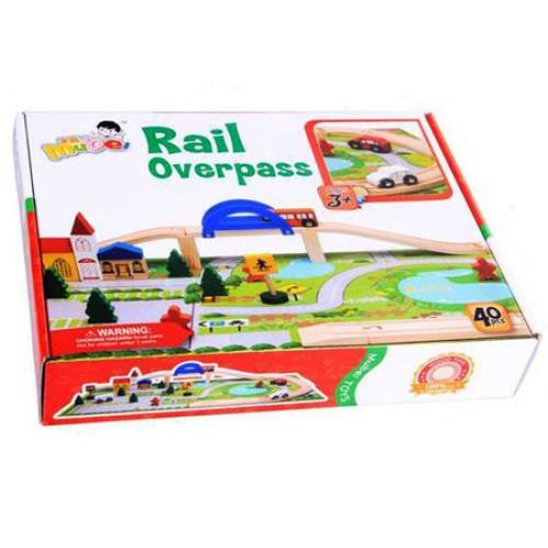 Circuit din lemn Rail Overpass cu masinute si covoras puzzle, Toyska [5]