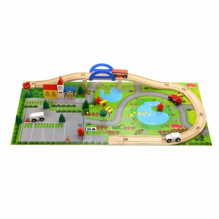 Circuit din lemn Rail Overpass cu masinute si covoras puzzle, Toyska [1]