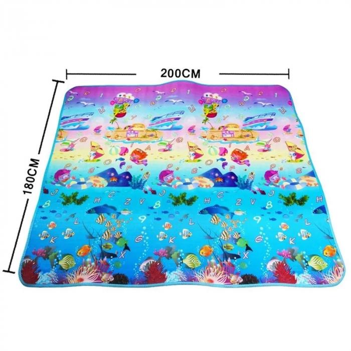 Covoras de joaca termoizolant cu doua fete 180 x 200 cm x 0.8, multicolor [5]