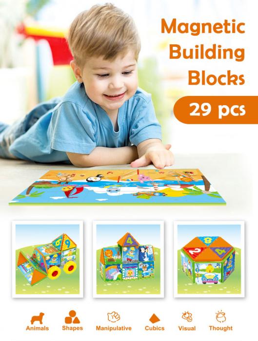 Joc constructiI magnetice si puzzle Magnetic Cubes 29 piese [1]