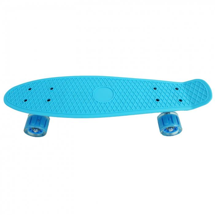 Penny Board cu roti luminoase LED, 55 cm, Albastru [0]