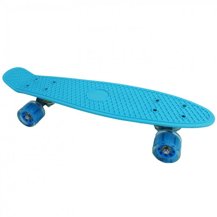 Penny Board cu roti luminoase LED, 55 cm, Albastru [2]