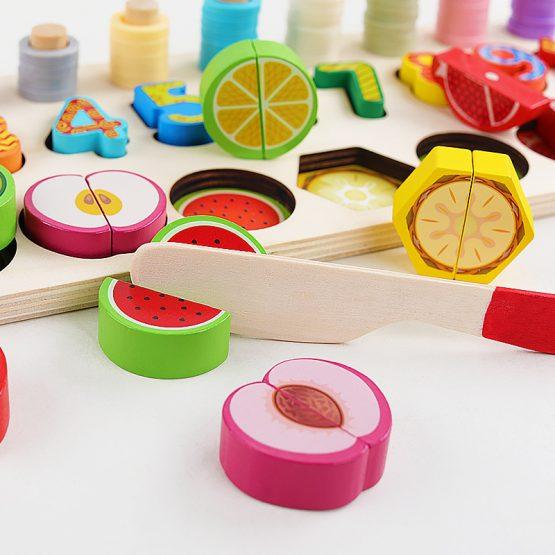 Jucarie educativa, interactiva, din lemn, cu numere si forme, Montessori, E00056 [3]