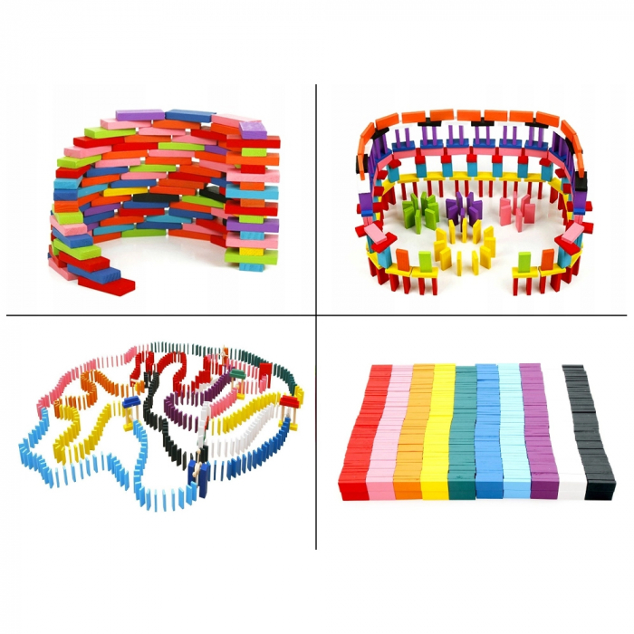 Joc din lemn, Domino cu piese colorate, 600 piese [4]