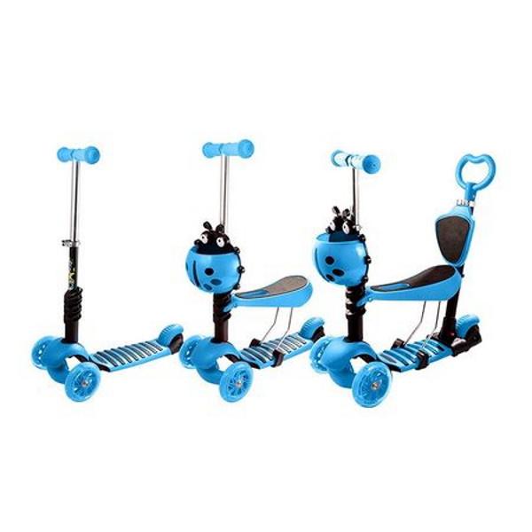 Trotineta 5 in 1 cu maner de impins si roti cu lumini Scooter OX11, albastra [2]