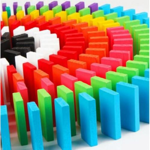 Joc din lemn, Domino cu piese colorate, 600 piese [2]