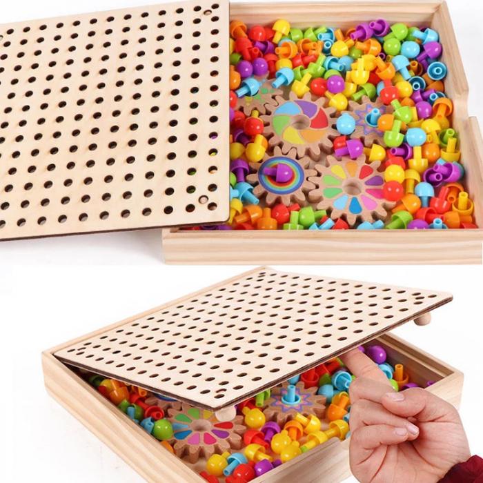 Joc de creatie tip mozaic pixel din lemn cu pini peg, multicolor, 200 piese [6]