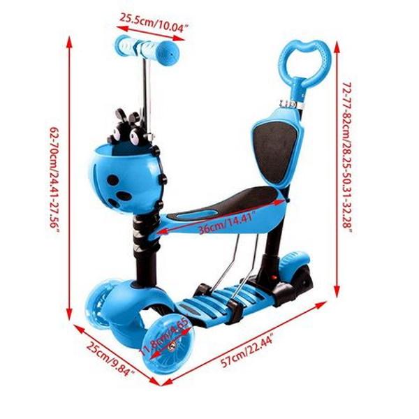 Trotineta 5 in 1 cu maner de impins si roti cu lumini Scooter OX11, albastra [3]