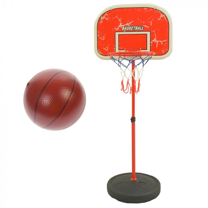 Set cos de baschet si minge, lungime reglabila, inaltime 202 cm, rosu - 0754801C [0]