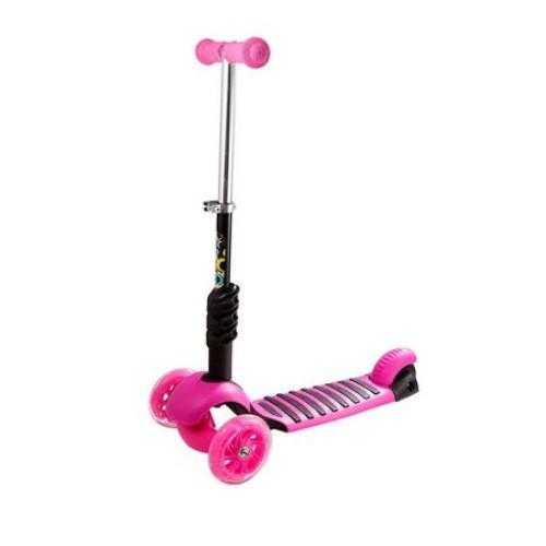 Trotineta 5 in 1 cu maner de impins si roti cu lumini Scooter OX11, roz [1]