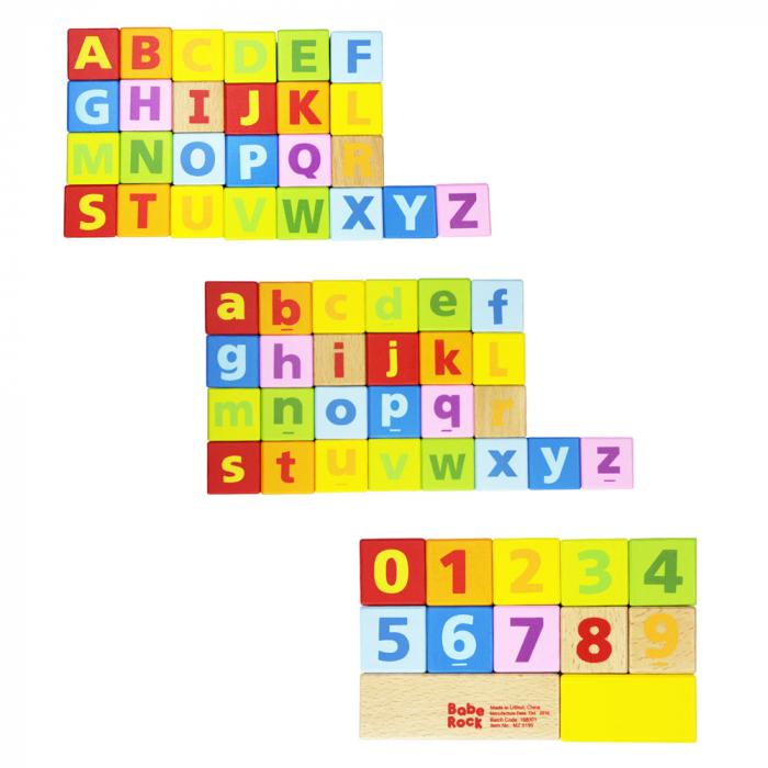 Cuburi constructie lemn litere cifre, 80 piese [1]