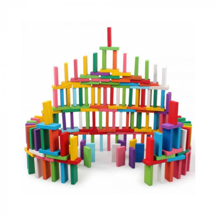 Joc din lemn, Domino cu piese colorate, 600 piese [3]