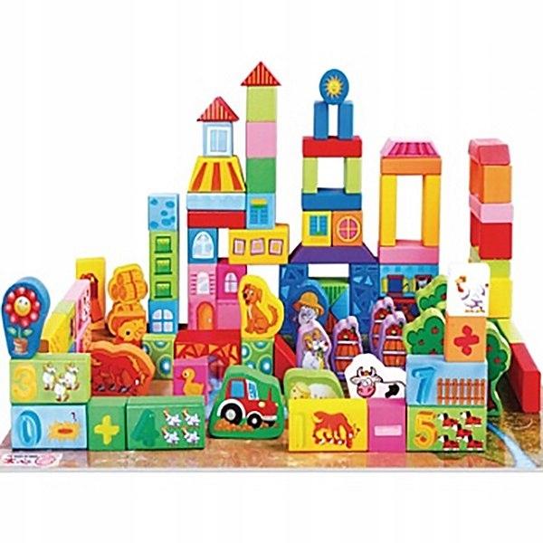 Cuburi din lemn pentru construit, 100 piese, Ferma animalelor [0]