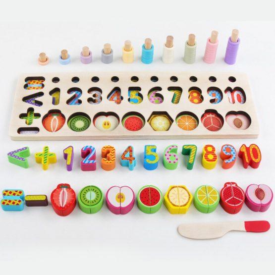 Jucarie educativa, interactiva, din lemn, cu numere si forme, Montessori, E00056 [4]
