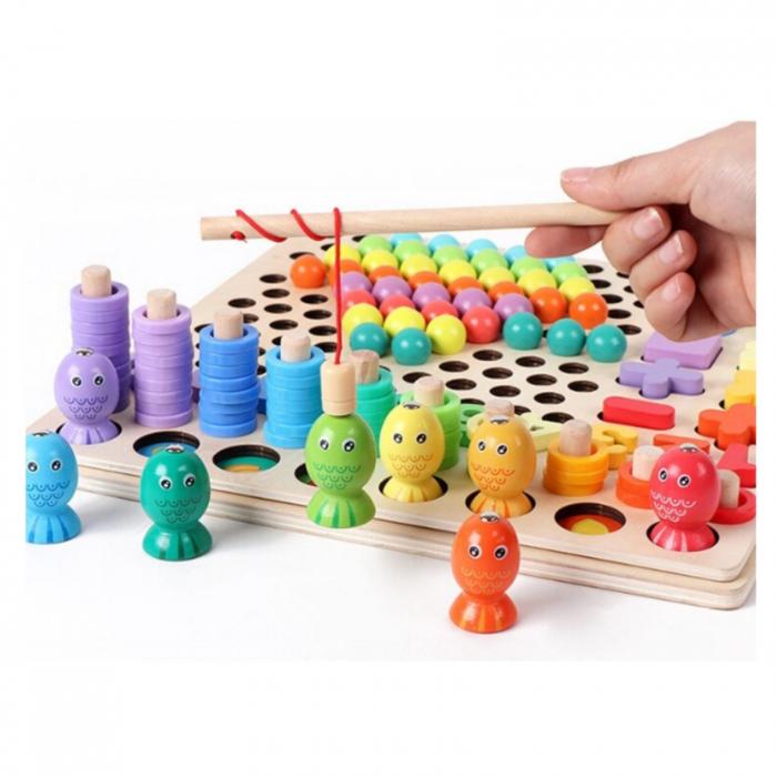 Joc lemn 6 in 1 cu cifre, forme geometrice, logaritmic cu stivuire piese, pescuit magnetic, indemanare si sortare [6]