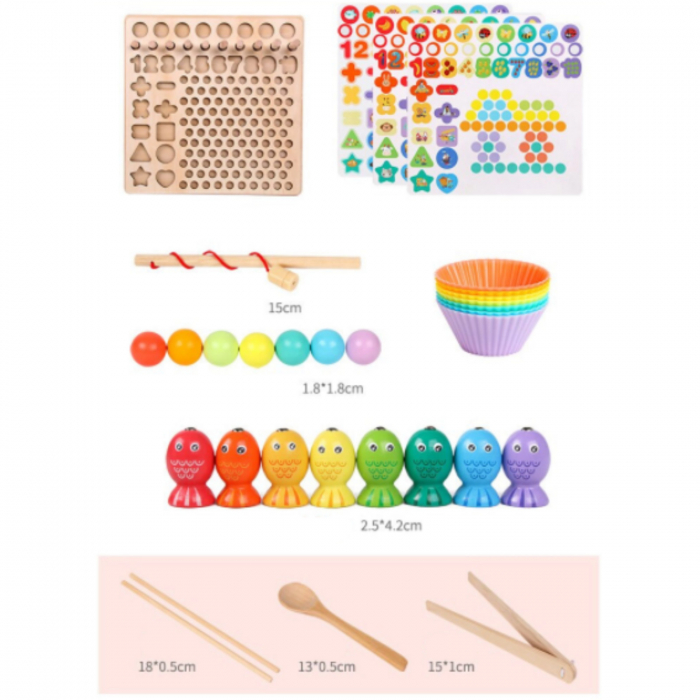 Joc lemn 6 in 1 cu cifre, forme geometrice, logaritmic cu stivuire piese, pescuit magnetic, indemanare si sortare [3]