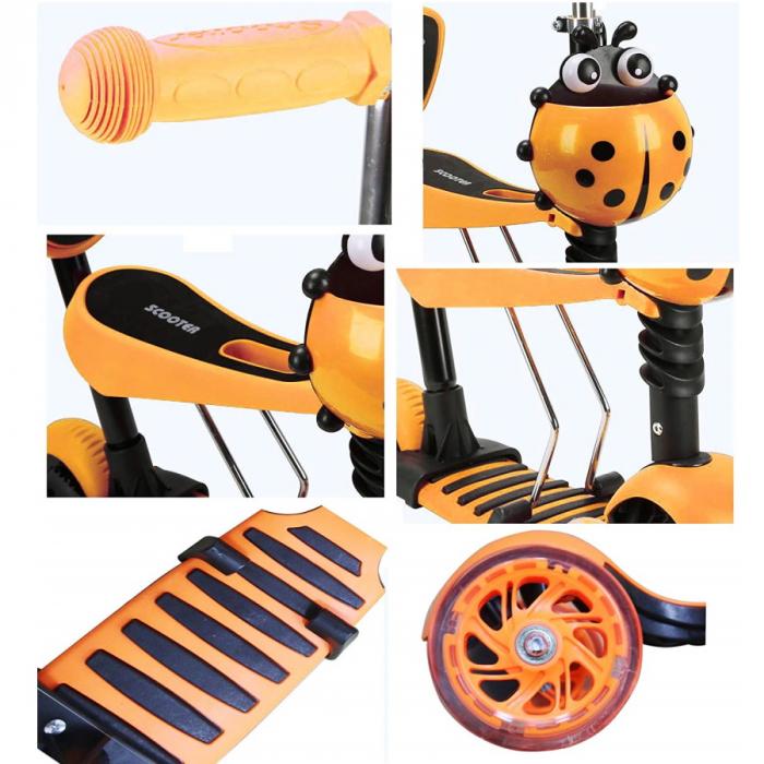 Trotineta 5 in 1 cu maner de impins si roti cu lumini Scooter OX11, portocalie [1]
