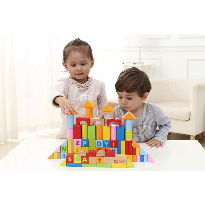 Cuburi constructie lemn litere cifre, 80 piese [3]