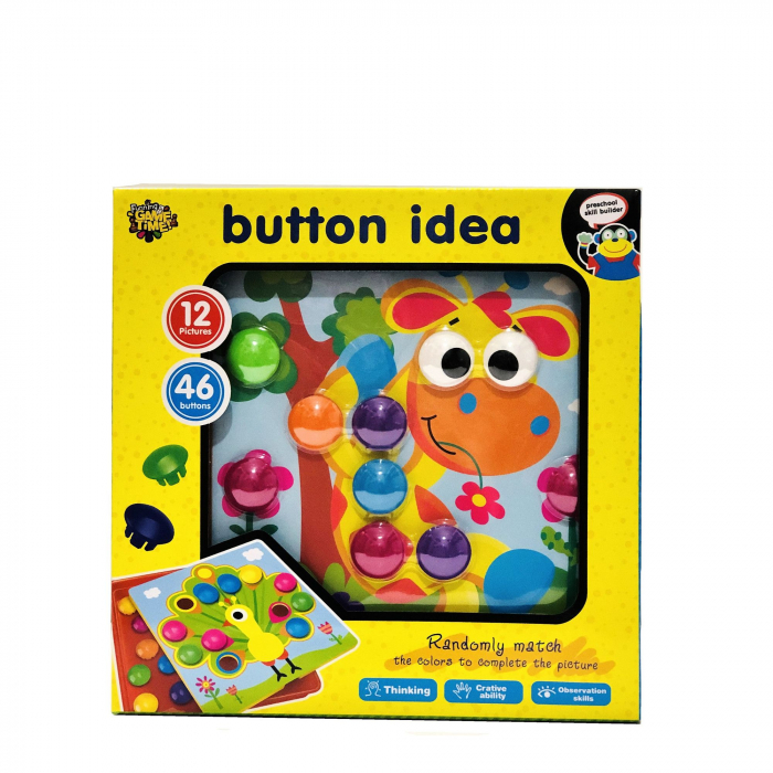 Joc creativ mozaic Button Idea, 12 cartonase, 46 de butoni [0]