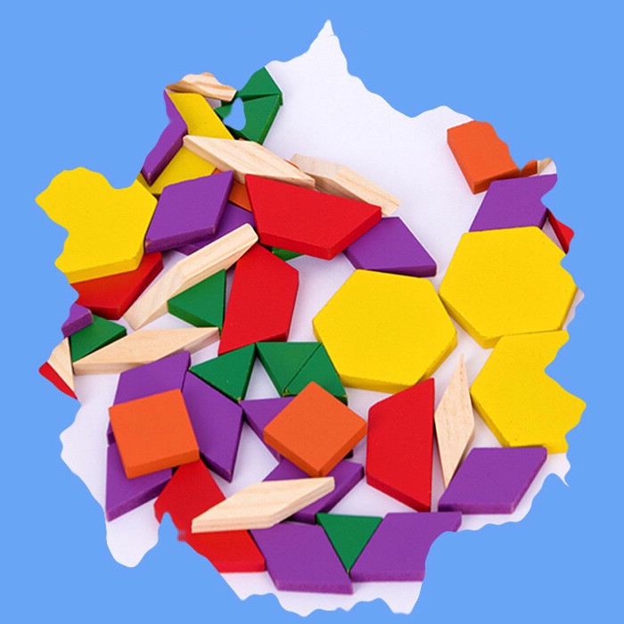 Joc educativ, Tangram din lemn, Joc asiatic cu 250 piese geometrice multicolore [3]
