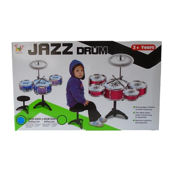 Set de tobe pentru copii Jazz Drum, cu scaunel, rosu [4]