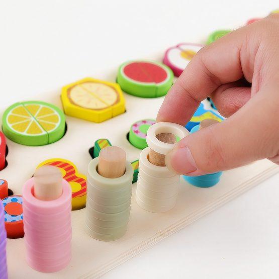 Jucarie educativa, interactiva, din lemn, cu numere si forme, Montessori, E00056 [1]