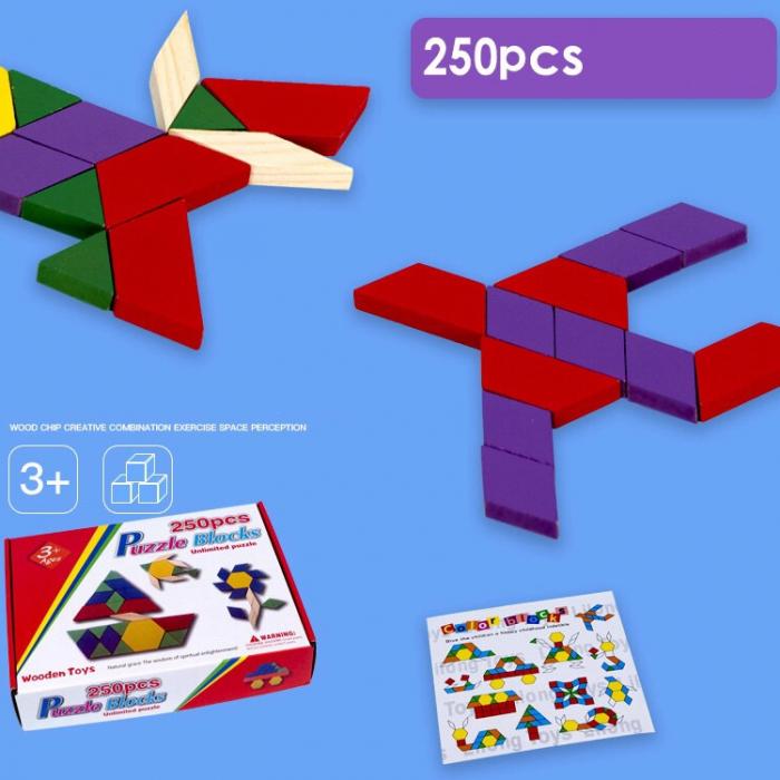 Joc educativ, Tangram din lemn, Joc asiatic cu 250 piese geometrice multicolore [2]
