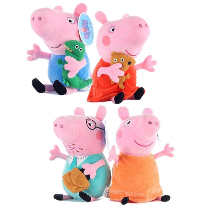 Set 4 jucarii de plus tip breloc Peppa Pig , 15 cm [2]