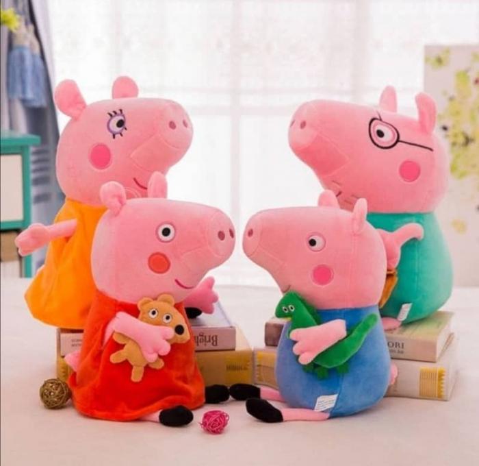 Set 4 jucarii de plus tip breloc Peppa Pig , 15 cm [0]