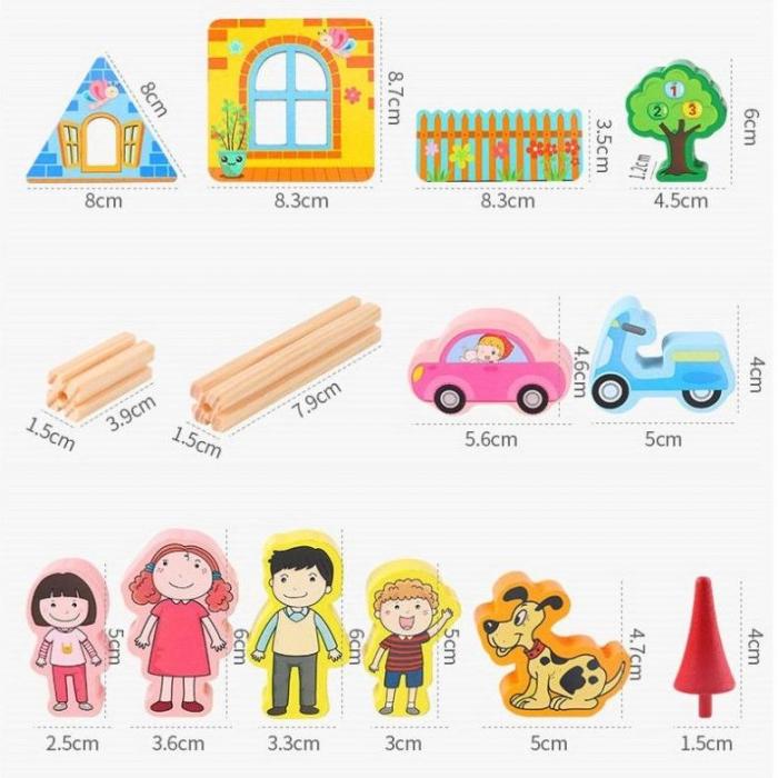 """Set de 128 de piese de construit din lemn natural pentru copii, """"Micul Arhitect"""", educational si creativ cu diferite ilustratii vesele [2]"""