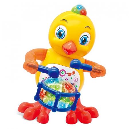 Jucarie Pui cu sunete si lumini, Drums Chicken, 20 cm, Toyska [0]