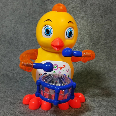 Jucarie Pui cu sunete si lumini, Drums Chicken, 20 cm, Toyska [2]