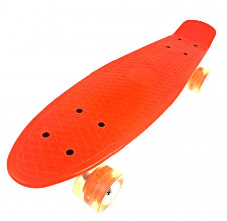 Penny Board cu roti luminoase LED, 55 cm, Portocaliu, Toyska [0]