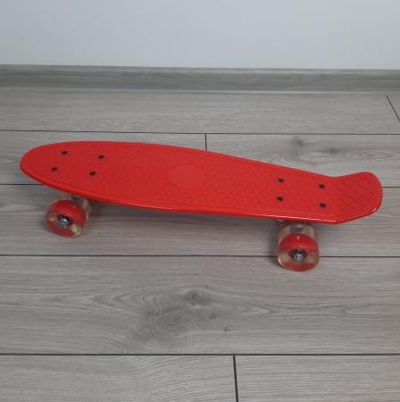 Penny Board cu roti luminoase LED, 55 cm, Rosu [2]