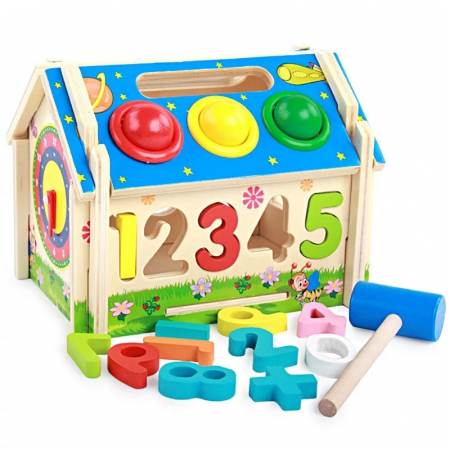 Jucarie lemn Casuta cu activitati 5 in 1, Toyska [0]