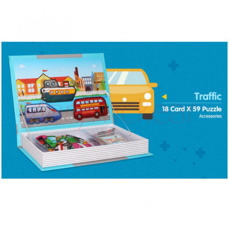 Joc educativ Carte magnetica cu piese puzzle, Traffic Spell, Toyska [1]