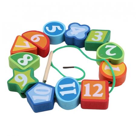 Ceas Montessori din lemn, cu forme geometrice, Toyska [2]