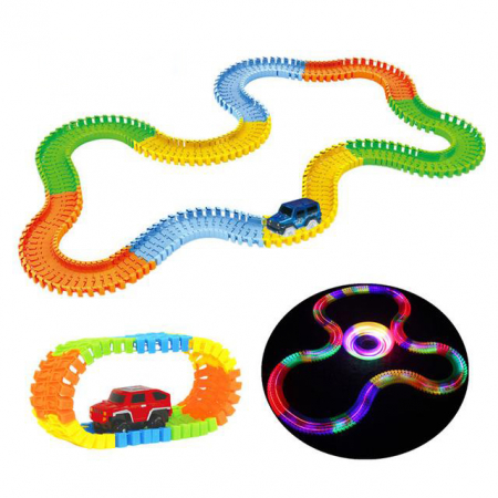 Pista Flexibila Magic Tracks, 220 Piese + Masinuta cu LED, Toyska [1]