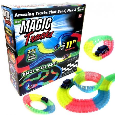 Pista Flexibila Magic Tracks, 220 Piese + Masinuta cu LED, Toyska [0]