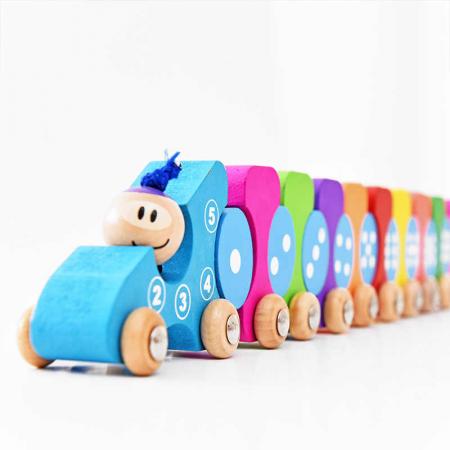 Jucarie din lemn de tras 3 in 1 Tren cu Cifre, Toyska [1]