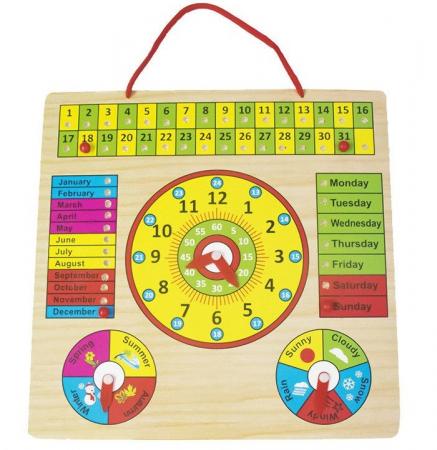 Calendar si Ceas in limba Engleza, lemn, Montessori, Toyska [0]