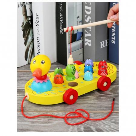 Rata de tras din lemn cu joc de Pescuit Magnetic, Toyska [4]