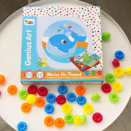 Joc creativ mozaic Genius Art, Animale Marine, 12 cartonase, 35 de butoni, Toyska [4]