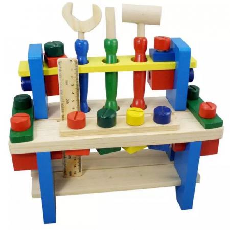 Jucarie Banc de Scule, 36 piese, lemn, Toyska [0]