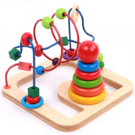 Jucarie motricitate 2 in 1 Labirint si Turn Rainbow, Toyska [0]