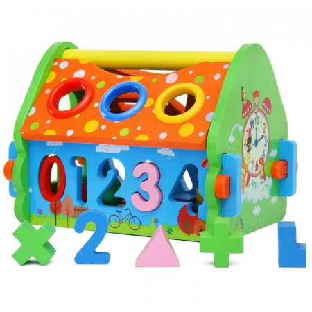 Casuta multifunctionala din lemn 5 in 1 cu sortator, Toyska [0]