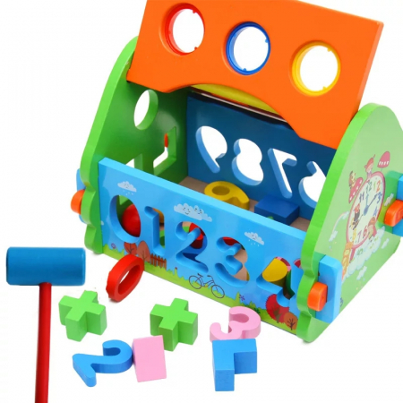 Casuta multifunctionala din lemn 5 in 1 cu sortator, Toyska [2]