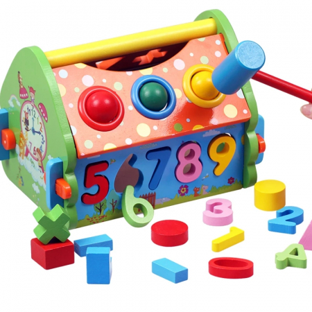 Casuta multifunctionala din lemn 5 in 1 cu sortator, Toyska [3]