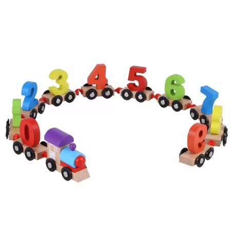 Tren din lemn cu vagoane cifre de la 0 la 9, Toyska [0]