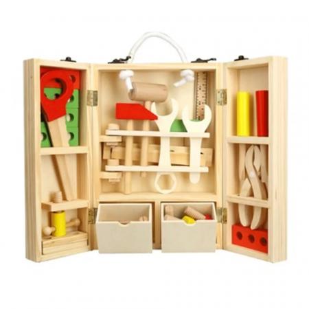 Trusa de scule din lemn Montessori, 25 piese, Toyska [1]